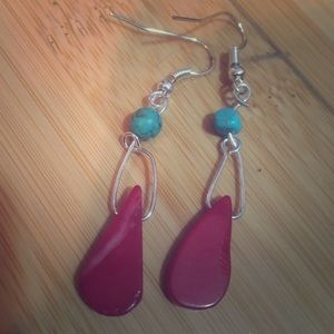Jewelry - Red coral drop earrings